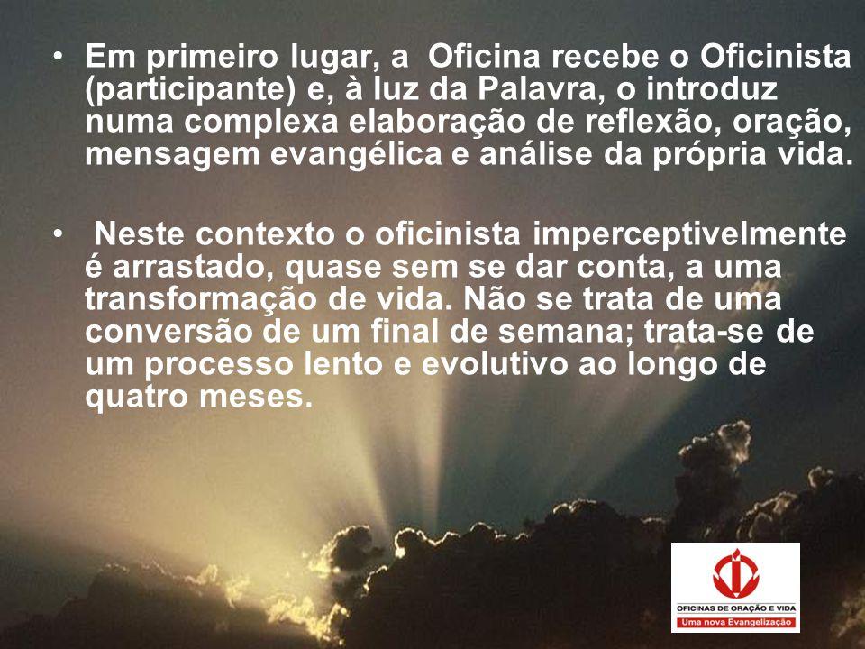 •Em primeiro lugar, a Oficina recebe o Oficinista (participante) e, à luz da Palavra, o introduz numa complexa elaboração de reflexão, oração, mensage
