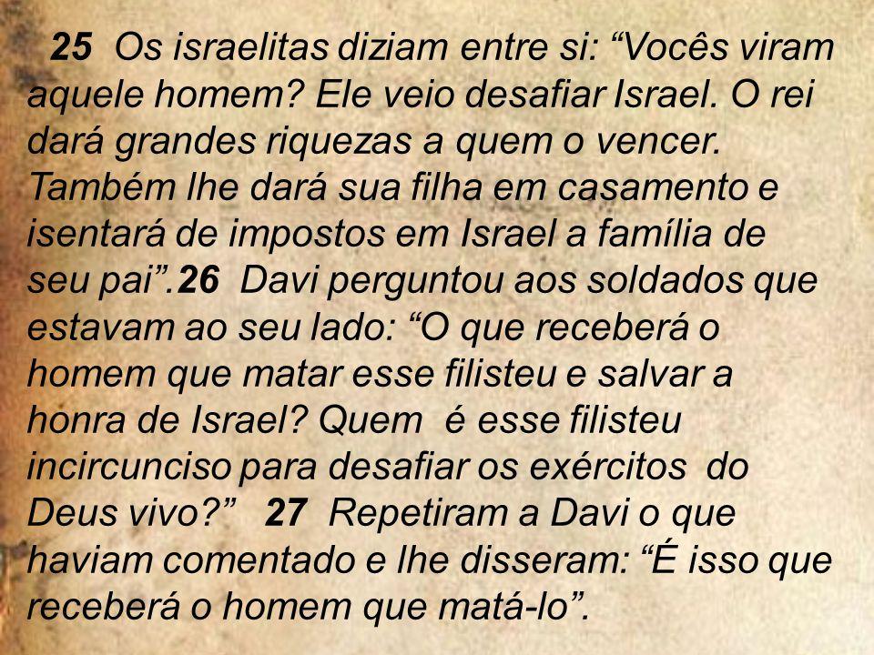 25 Os israelitas diziam entre si: Vocês viram aquele homem.