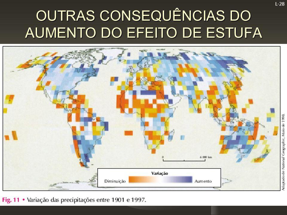 L-28 OUTRAS CONSEQUÊNCIAS DO AUMENTO DO EFEITO DE ESTUFA   O aumento da temperatura média da Terra, outra das consequências do aumento do efeito de