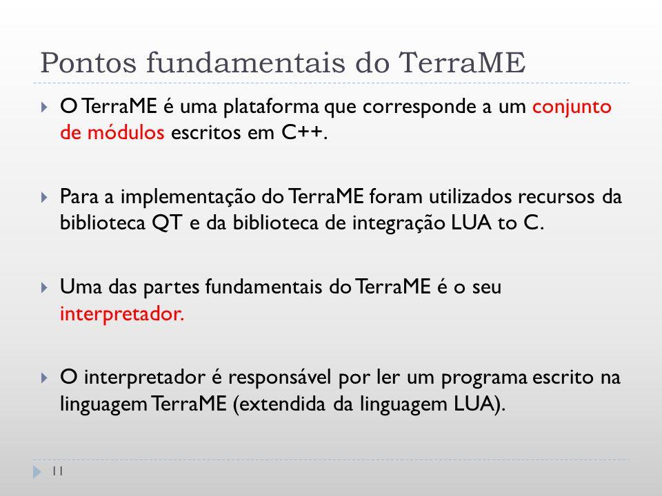 Pontos fundamentais do TerraME 11  O TerraME é uma plataforma que corresponde a um conjunto de módulos escritos em C++.  Para a implementação do Ter