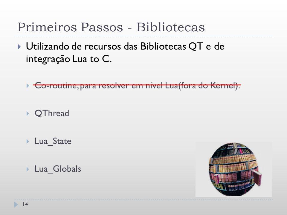 Primeiros Passos - Bibliotecas 14  Utilizando de recursos das Bibliotecas QT e de integração Lua to C.  Co-routine, para resolver em nível Lua(fora