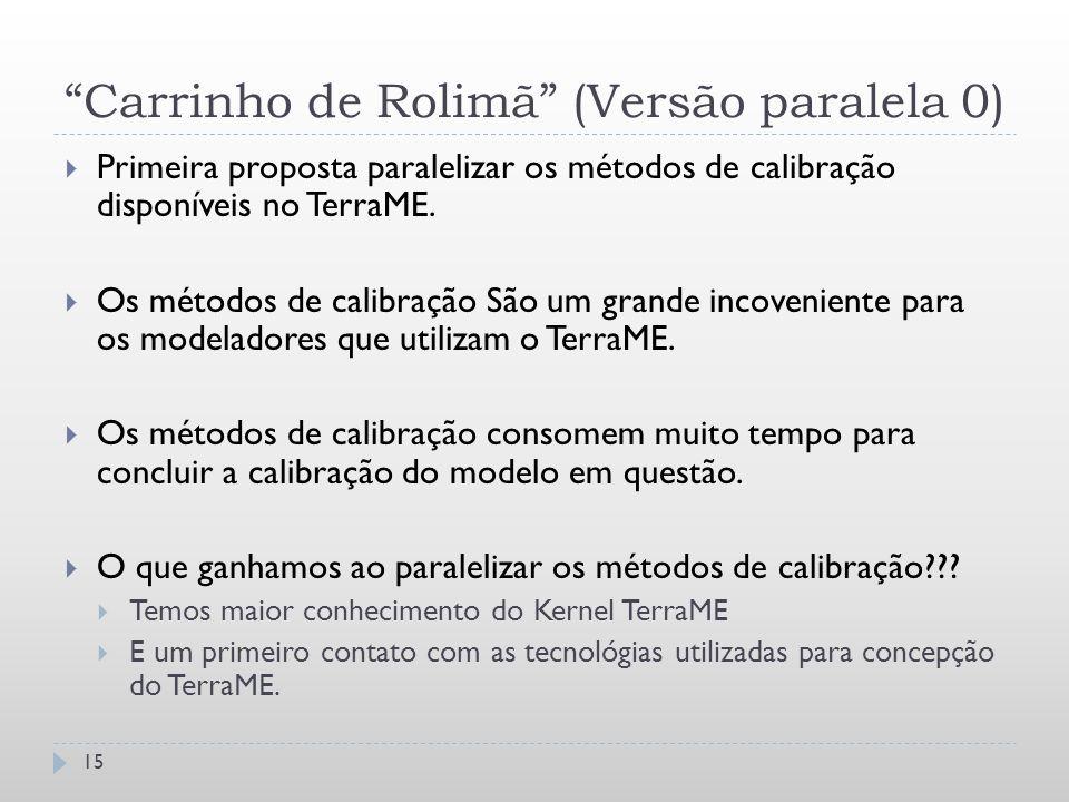 """""""Carrinho de Rolimã"""" (Versão paralela 0) 15  Primeira proposta paralelizar os métodos de calibração disponíveis no TerraME.  Os métodos de calibraçã"""