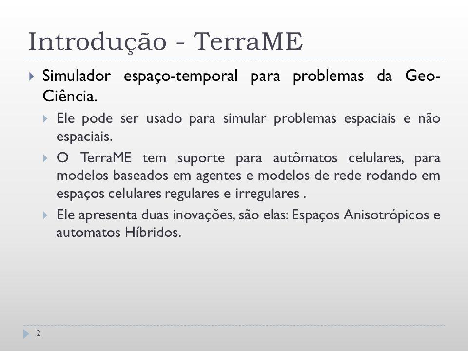 Introdução - TerraME  Simulador espaço-temporal para problemas da Geo- Ciência.  Ele pode ser usado para simular problemas espaciais e não espaciais