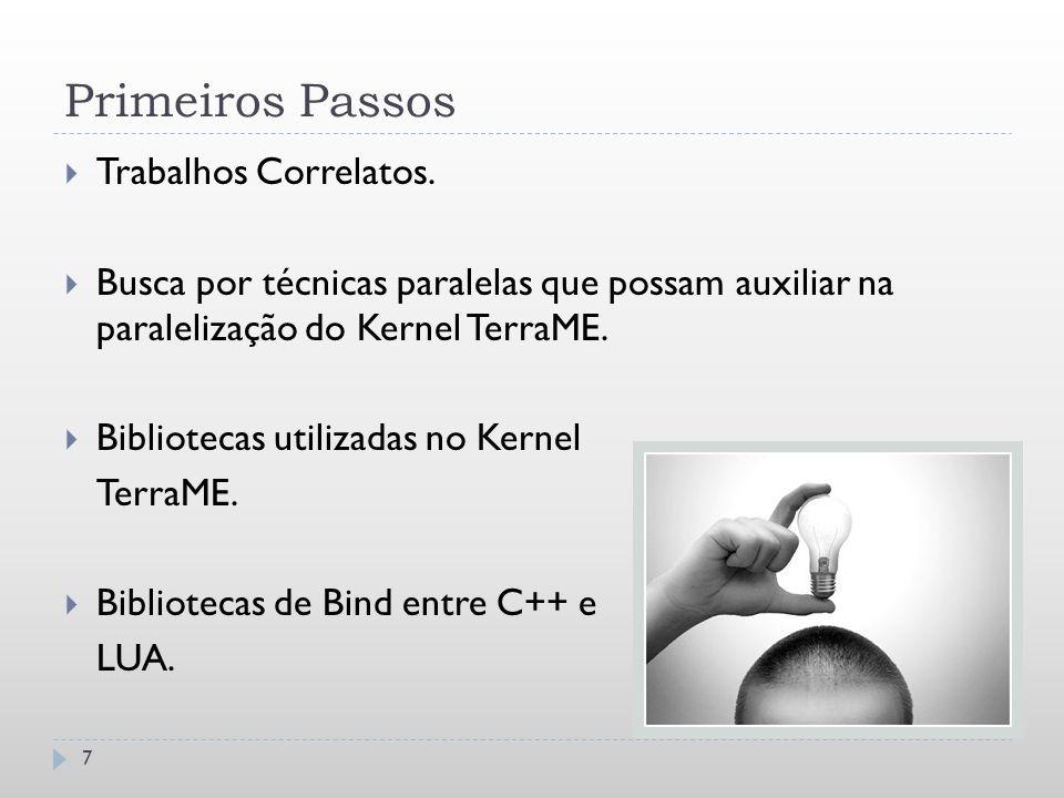 Primeiros Passos 7  Trabalhos Correlatos.  Busca por técnicas paralelas que possam auxiliar na paralelização do Kernel TerraME.  Bibliotecas utiliz