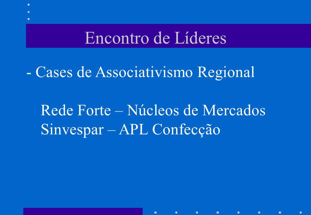 Encontro de Líderes - Cases de Associativismo Regional Rede Forte – Núcleos de Mercados Sinvespar – APL Confecção