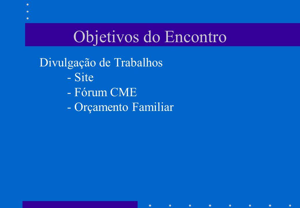 Objetivos do Encontro Divulgação de Trabalhos - Site - Fórum CME - Orçamento Familiar