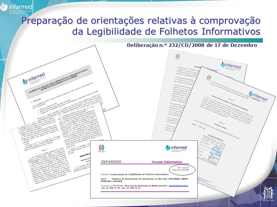 Preparação de orientações relativas à comprovação da Legibilidade de Folhetos Informativos Deliberação n.º 232/CD/2008 de 17 de Dezembro
