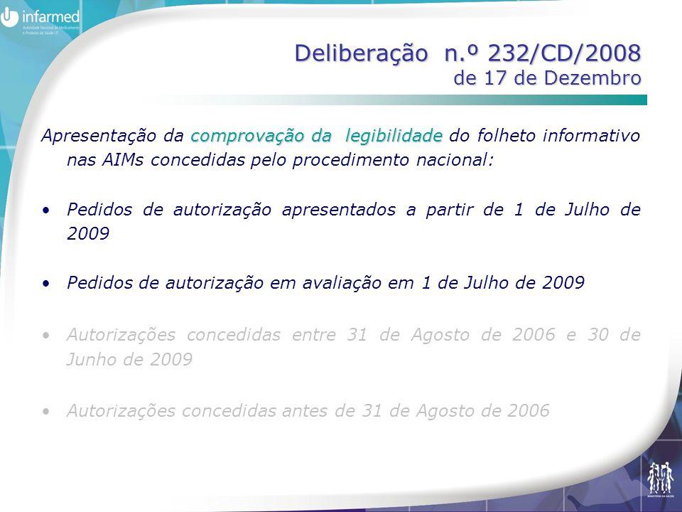 Deliberação n.º 232/CD/2008 de 17 de Dezembro comprovação da legibilidade Apresentação da comprovação da legibilidade do folheto informativo nas AIMs concedidas pelo procedimento nacional: •Pedidos de autorização apresentados a partir de 1 de Julho de 2009 •Pedidos de autorização em avaliação em 1 de Julho de 2009 •Autorizações concedidas entre 31 de Agosto de 2006 e 30 de Junho de 2009 •Autorizações concedidas antes de 31 de Agosto de 2006