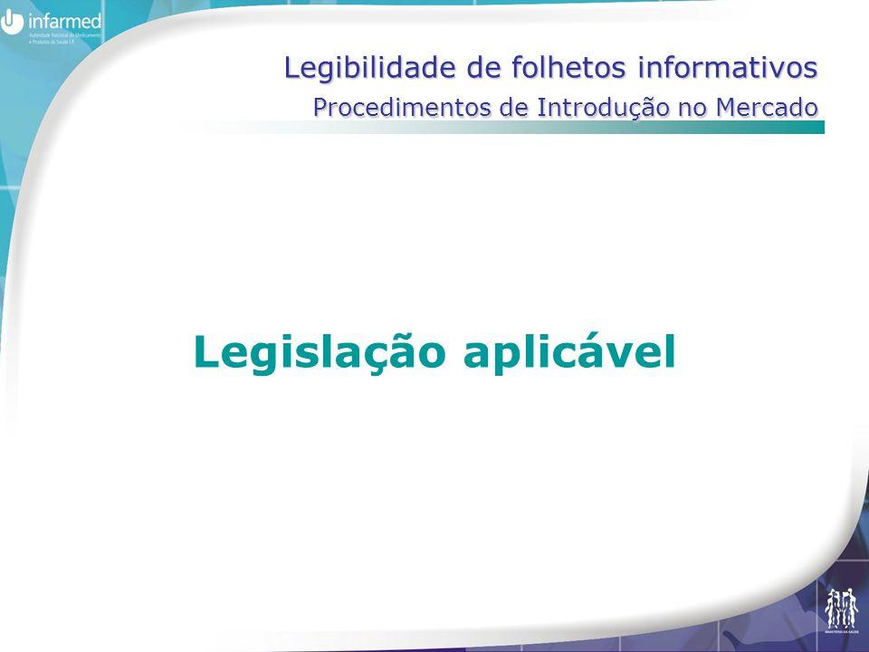 Legibilidade de folhetos informativos Procedimentos de Introdução no Mercado Legislação aplicável