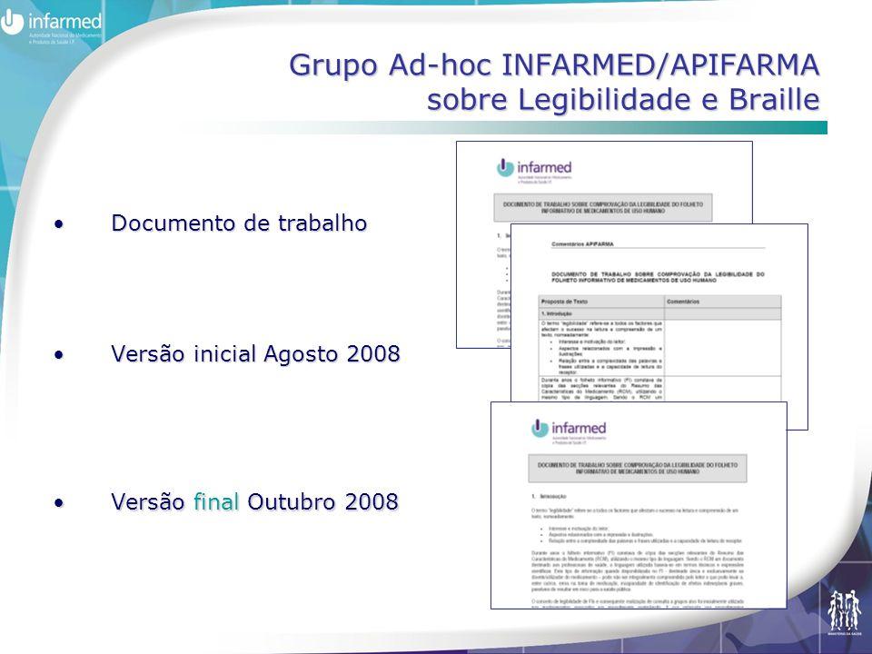 Grupo Ad-hoc INFARMED/APIFARMA sobre Legibilidade e Braille •Documento de trabalho •Versão inicial Agosto 2008 •Versão final Outubro 2008