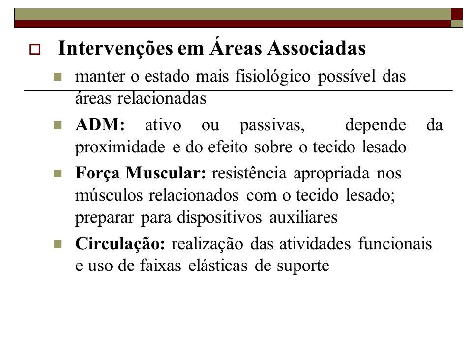  Intervenções em Áreas Associadas  manter o estado mais fisiológico possível das áreas relacionadas  ADM: ativo ou passivas, depende da proximidade