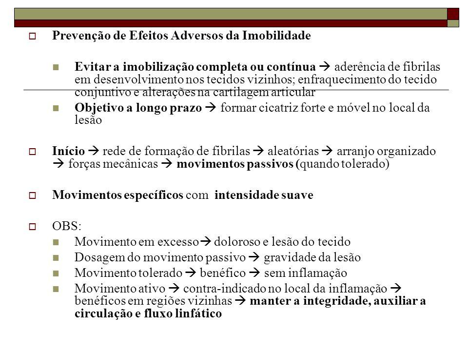  Prevenção de Efeitos Adversos da Imobilidade  Evitar a imobilização completa ou contínua  aderência de fibrilas em desenvolvimento nos tecidos viz