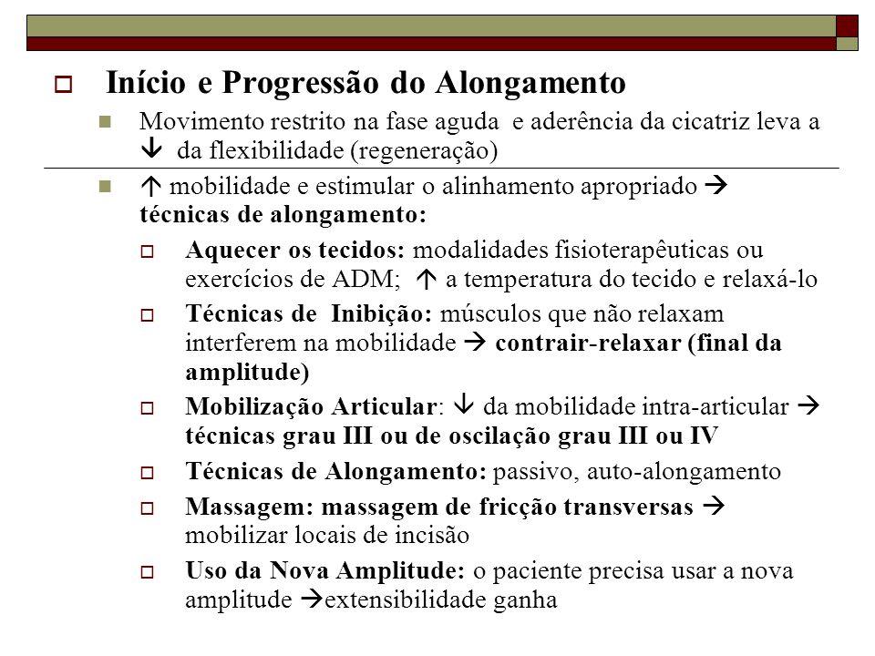  Início e Progressão do Alongamento  Movimento restrito na fase aguda e aderência da cicatriz leva a  da flexibilidade (regeneração)   mobilidade