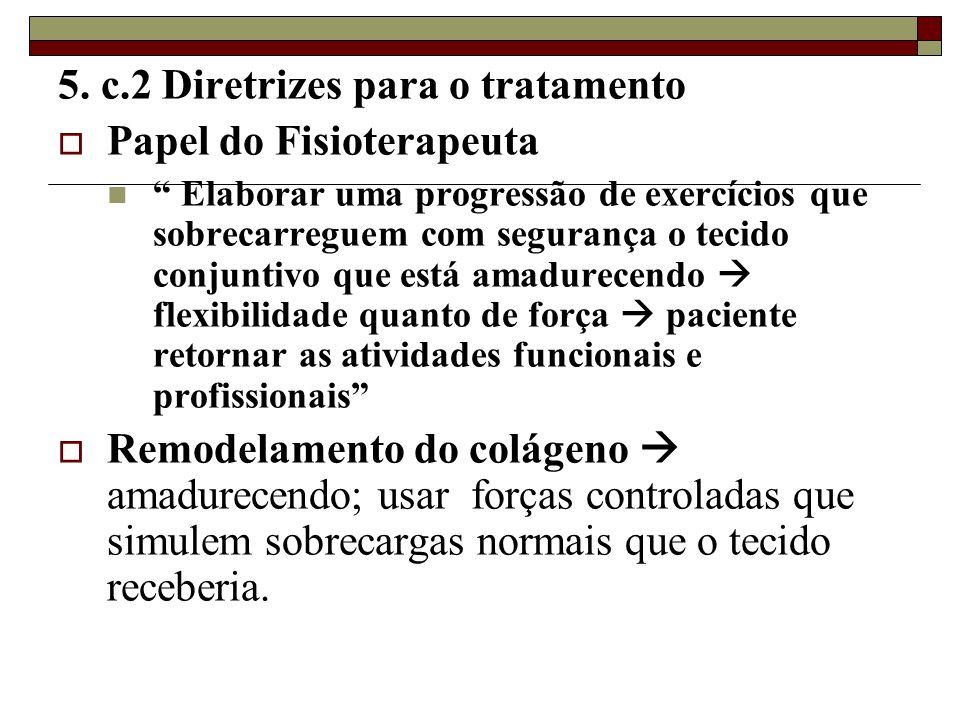 """5. c.2 Diretrizes para o tratamento  Papel do Fisioterapeuta  """" Elaborar uma progressão de exercícios que sobrecarreguem com segurança o tecido conj"""
