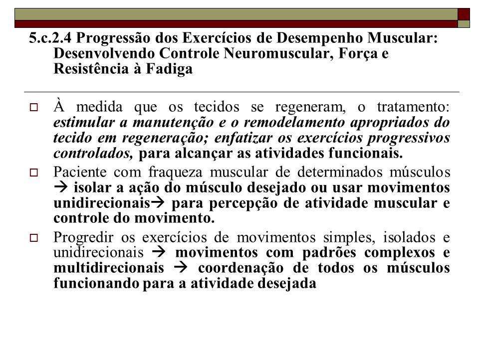 5.c.2.4 Progressão dos Exercícios de Desempenho Muscular: Desenvolvendo Controle Neuromuscular, Força e Resistência à Fadiga  À medida que os tecidos