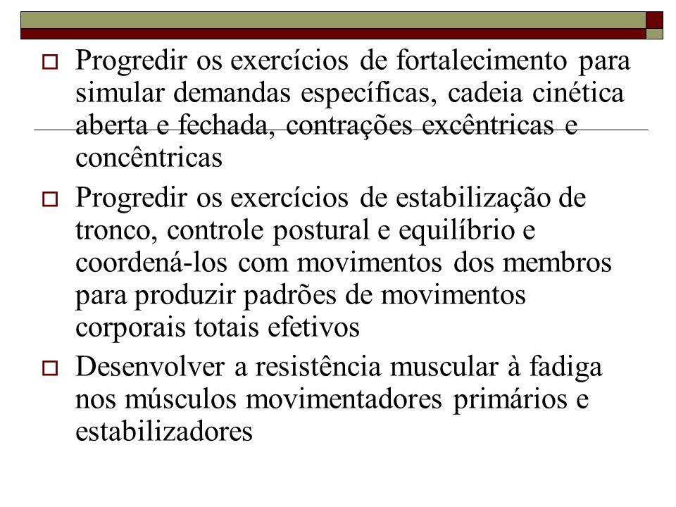  Progredir os exercícios de fortalecimento para simular demandas específicas, cadeia cinética aberta e fechada, contrações excêntricas e concêntricas