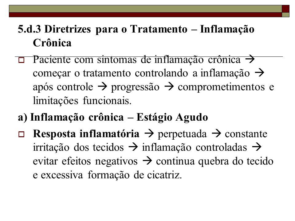 5.d.3 Diretrizes para o Tratamento – Inflamação Crônica  Paciente com sintomas de inflamação crônica  começar o tratamento controlando a inflamação