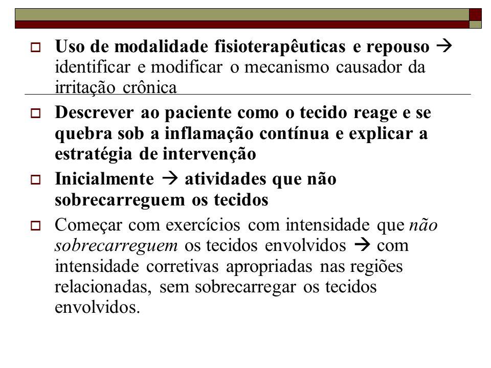  Uso de modalidade fisioterapêuticas e repouso  identificar e modificar o mecanismo causador da irritação crônica  Descrever ao paciente como o tec