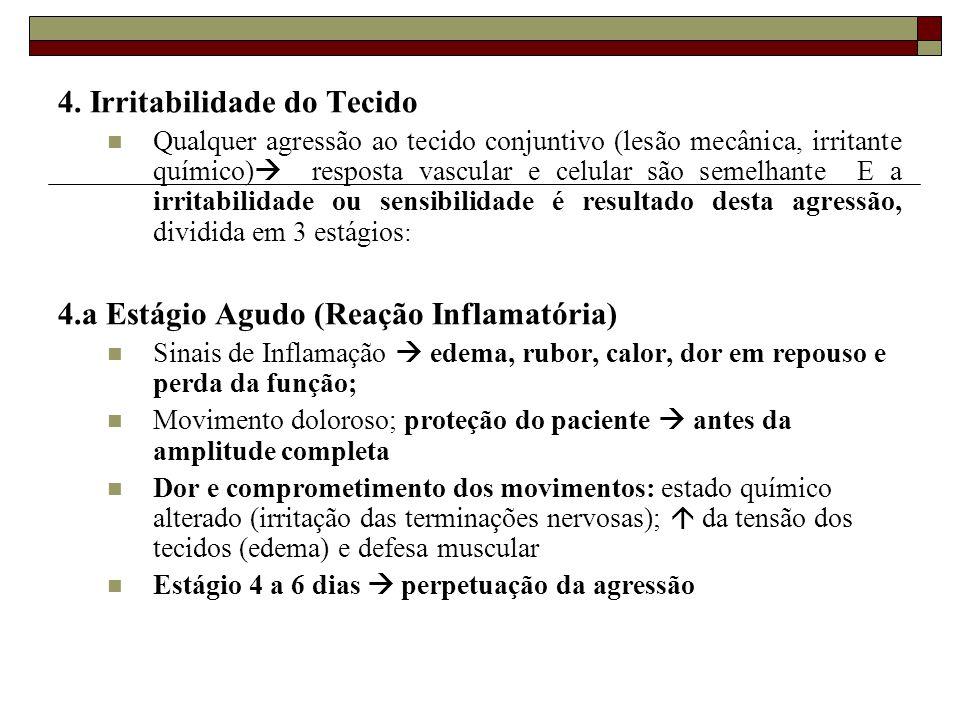 4. Irritabilidade do Tecido  Qualquer agressão ao tecido conjuntivo (lesão mecânica, irritante químico)  resposta vascular e celular são semelhante