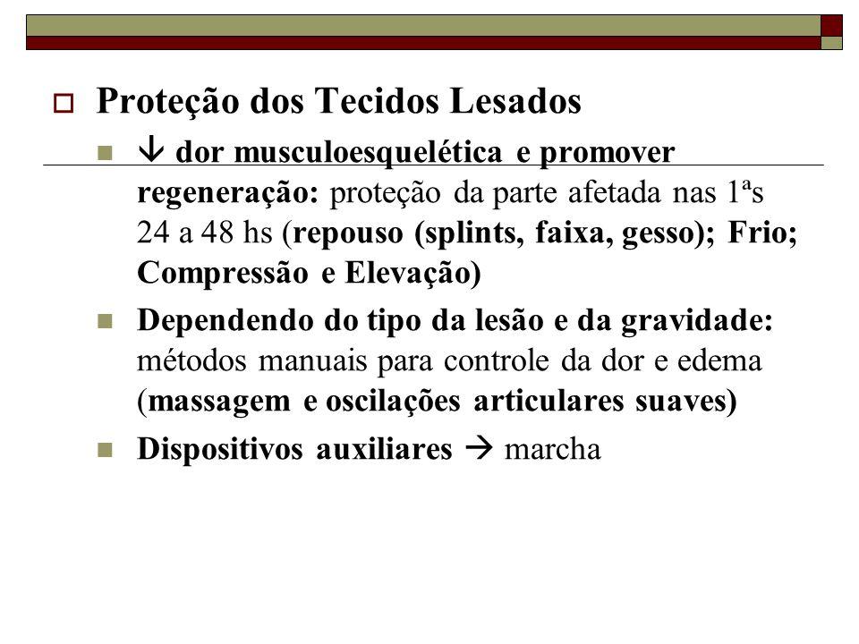  Proteção dos Tecidos Lesados   dor musculoesquelética e promover regeneração: proteção da parte afetada nas 1ªs 24 a 48 hs (repouso (splints, faix