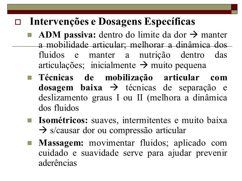  Intervenções e Dosagens Específicas  ADM passiva: dentro do limite da dor  manter a mobilidade articular; melhorar a dinâmica dos fluidos e manter