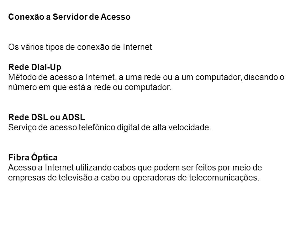 Conexão a Servidor de Acesso Os vários tipos de conexão de Internet Rede Dial-Up Método de acesso a Internet, a uma rede ou a um computador, discando o número em que está a rede ou computador.