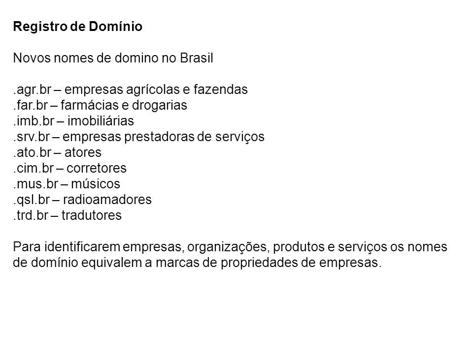 Registro de Domínio Novos nomes de domino no Brasil.agr.br – empresas agrícolas e fazendas.far.br – farmácias e drogarias.imb.br – imobiliárias.srv.br