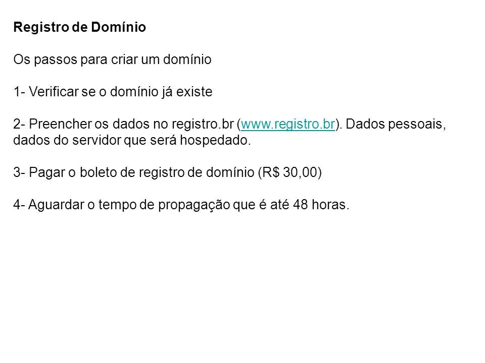 Registro de Domínio Os passos para criar um domínio 1- Verificar se o domínio já existe 2- Preencher os dados no registro.br (www.registro.br). Dados