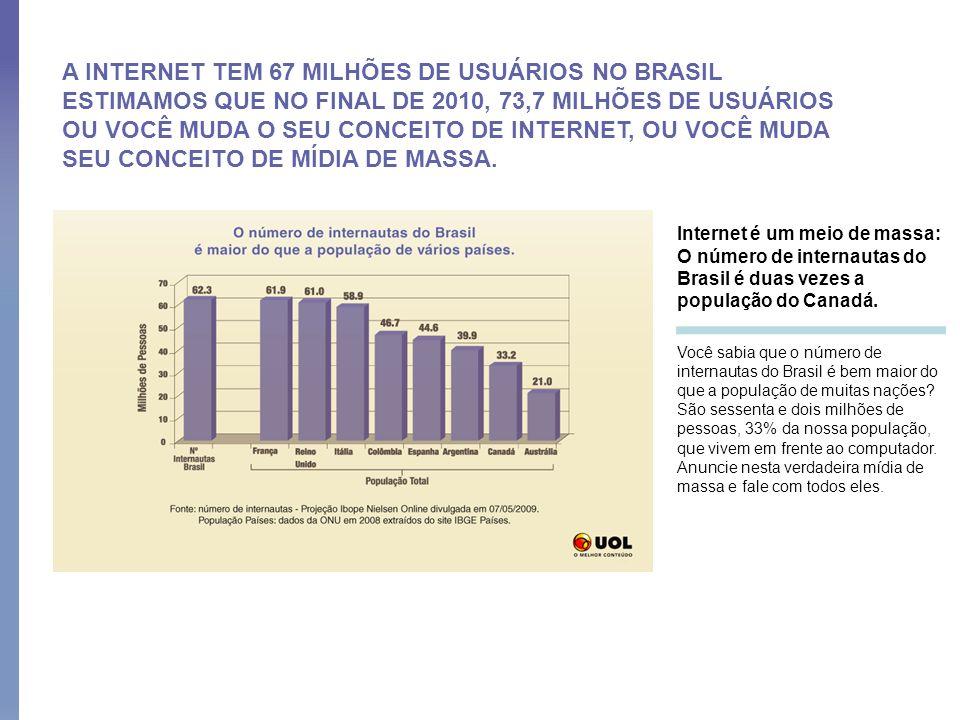 A INTERNET TEM 67 MILHÕES DE USUÁRIOS NO BRASIL ESTIMAMOS QUE NO FINAL DE 2010, 73,7 MILHÕES DE USUÁRIOS OU VOCÊ MUDA O SEU CONCEITO DE INTERNET, OU VOCÊ MUDA SEU CONCEITO DE MÍDIA DE MASSA.