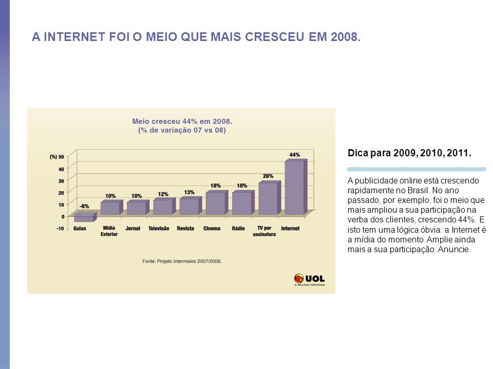 A INTERNET FOI O MEIO QUE MAIS CRESCEU EM 2008. Dica para 2009, 2010, 2011. A publicidade online está crescendo rapidamente no Brasil. No ano passado,