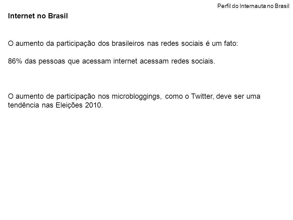 Internet no Brasil O aumento da participação dos brasileiros nas redes sociais é um fato: 86% das pessoas que acessam internet acessam redes sociais.