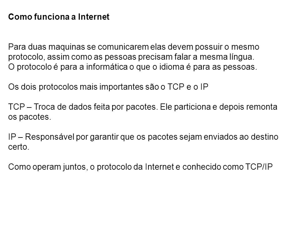 Como funciona a Internet Para ser localizado pelos usuários, as paginas deve ter um Número de Protocolos da Internet (Internet Protocol Number – numero de ip), que é um numero constituído por até 12 dígitos separado por pontos.