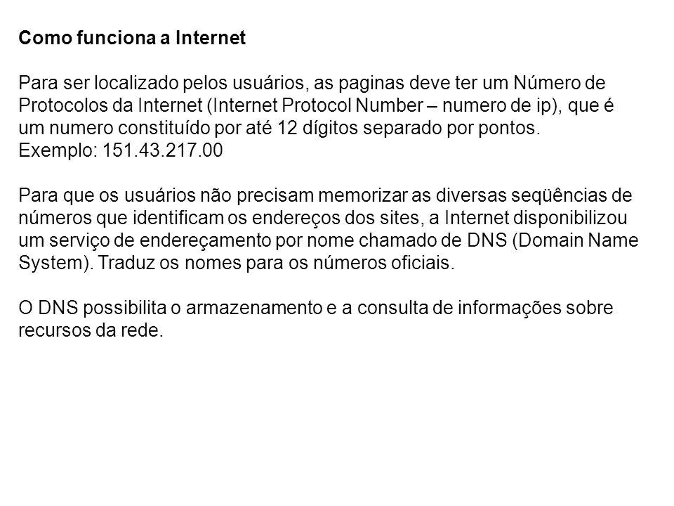 Como funciona a Internet Para ser localizado pelos usuários, as paginas deve ter um Número de Protocolos da Internet (Internet Protocol Number – numer
