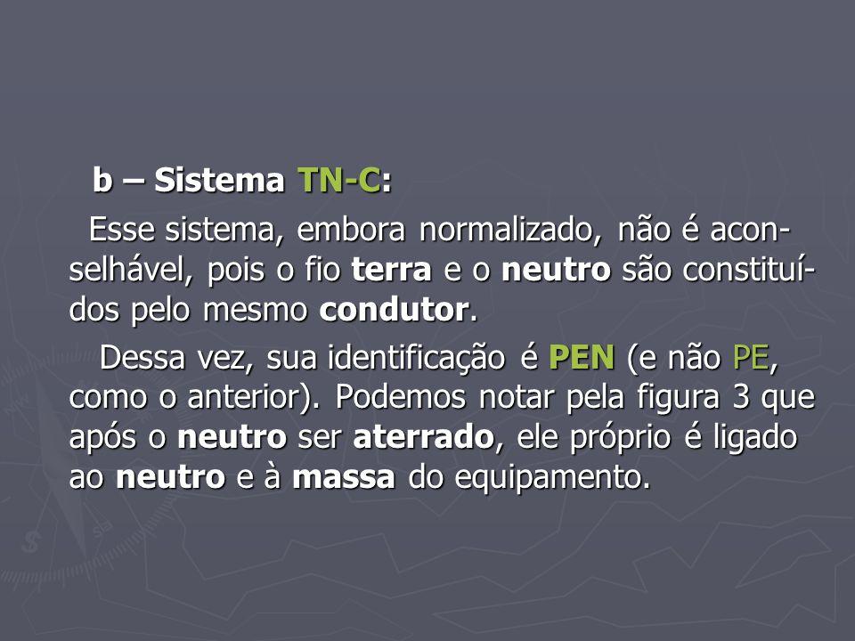 b – Sistema TN-C: b – Sistema TN-C: Esse sistema, embora normalizado, não é acon- selhável, pois o fio terra e o neutro são constituí- dos pelo mesmo