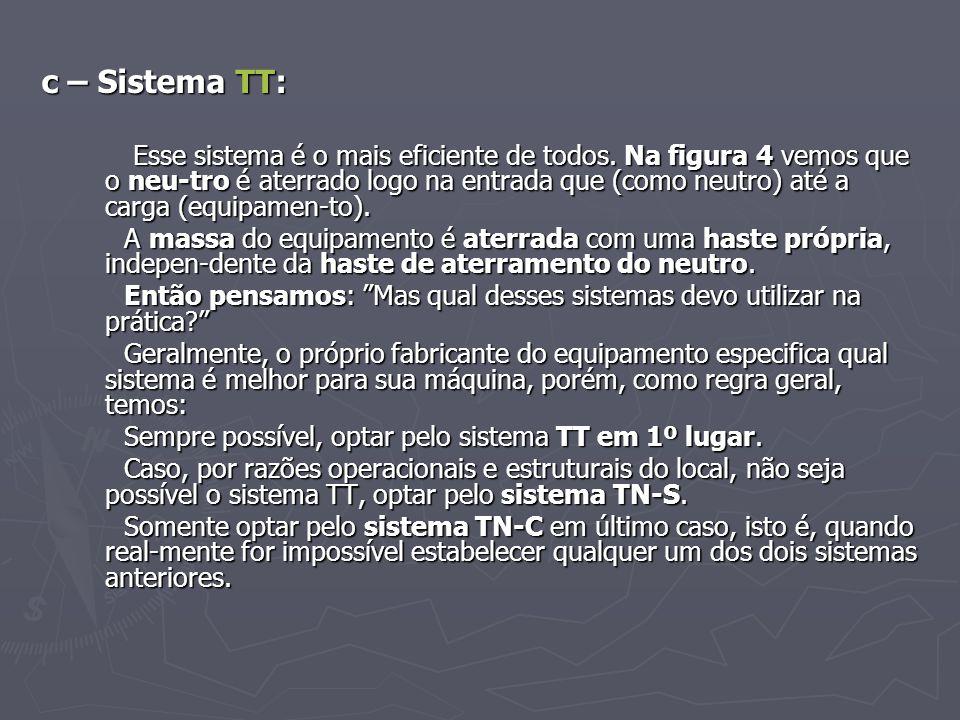 c – Sistema TT: Esse sistema é o mais eficiente de todos. Na figura 4 vemos que o neu-tro é aterrado logo na entrada que (como neutro) até a carga (eq