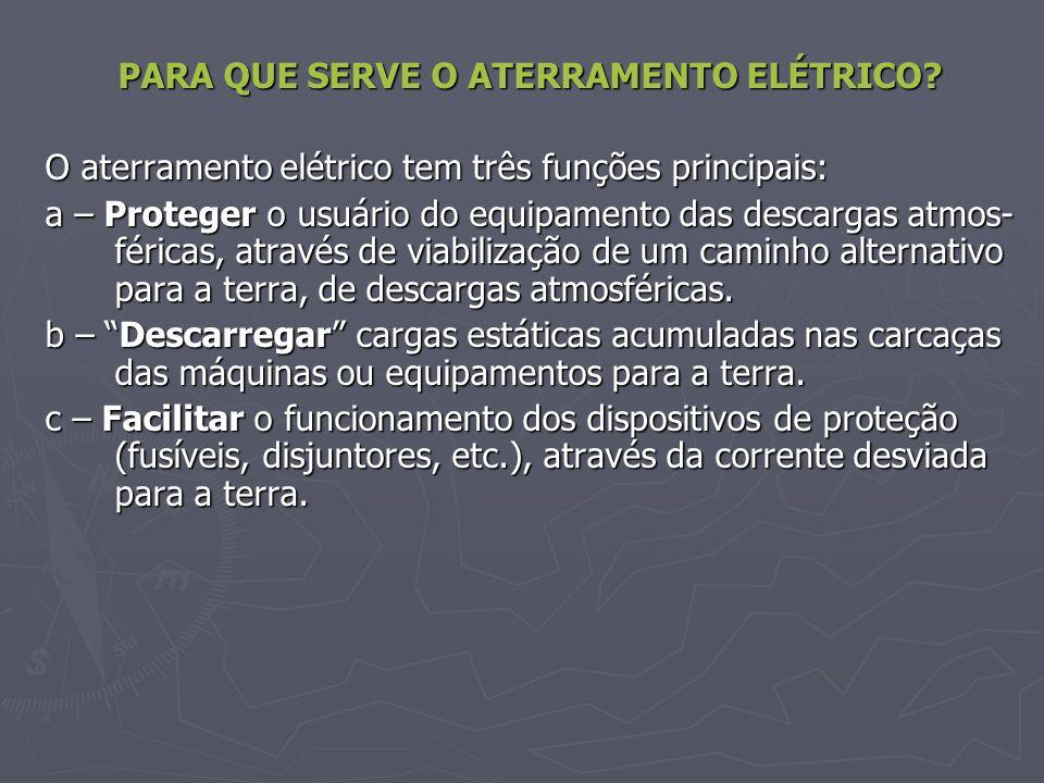 PARA QUE SERVE O ATERRAMENTO ELÉTRICO? O aterramento elétrico tem três funções principais: a – Proteger o usuário do equipamento das descargas atmos-