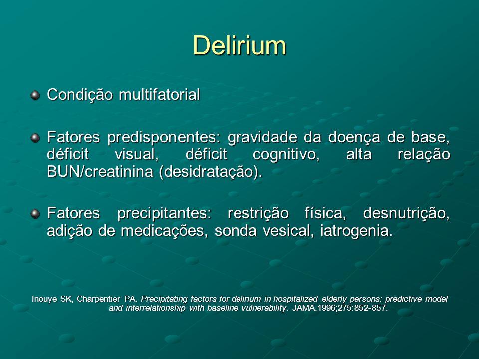 Delirium Condição multifatorial Fatores predisponentes: gravidade da doença de base, déficit visual, déficit cognitivo, alta relação BUN/creatinina (d