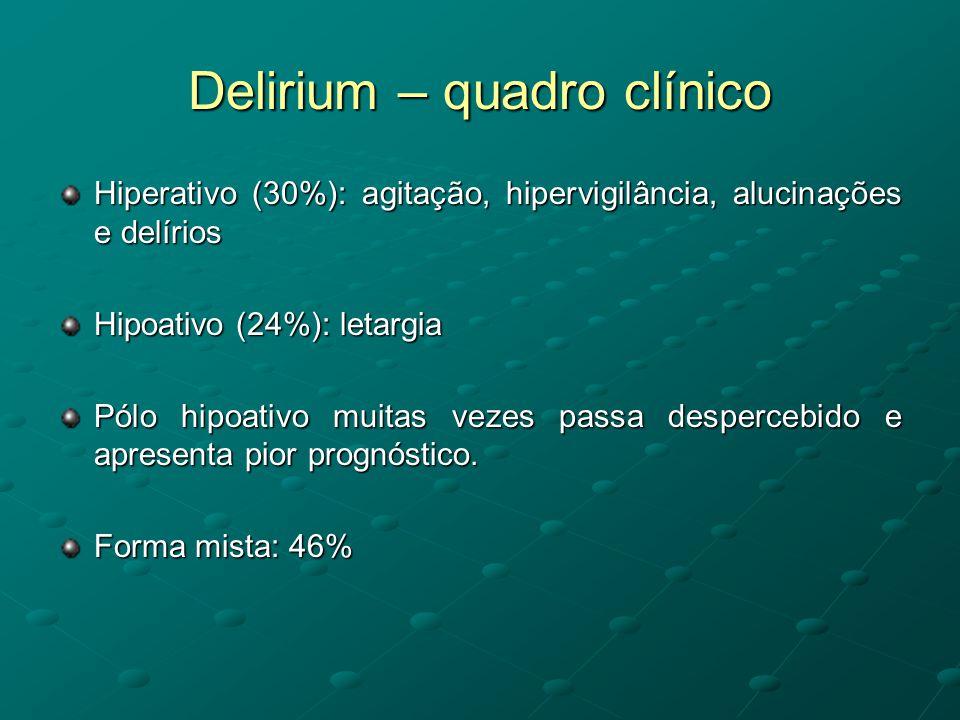 Delirium – quadro clínico Hiperativo (30%): agitação, hipervigilância, alucinações e delírios Hipoativo (24%): letargia Pólo hipoativo muitas vezes pa