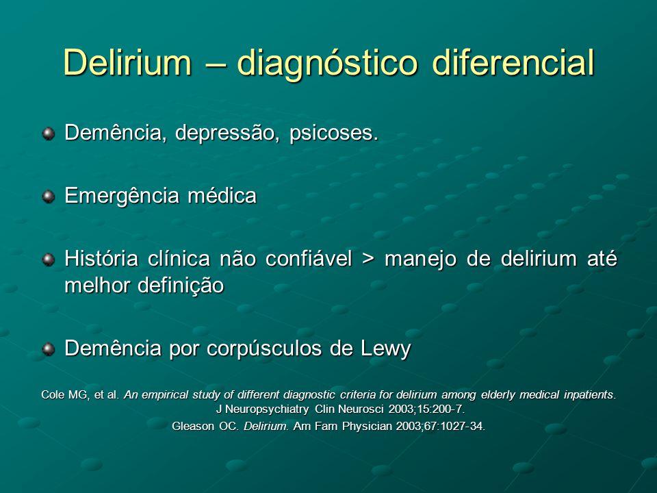Delirium – diagnóstico diferencial Demência, depressão, psicoses. Emergência médica História clínica não confiável > manejo de delirium até melhor def