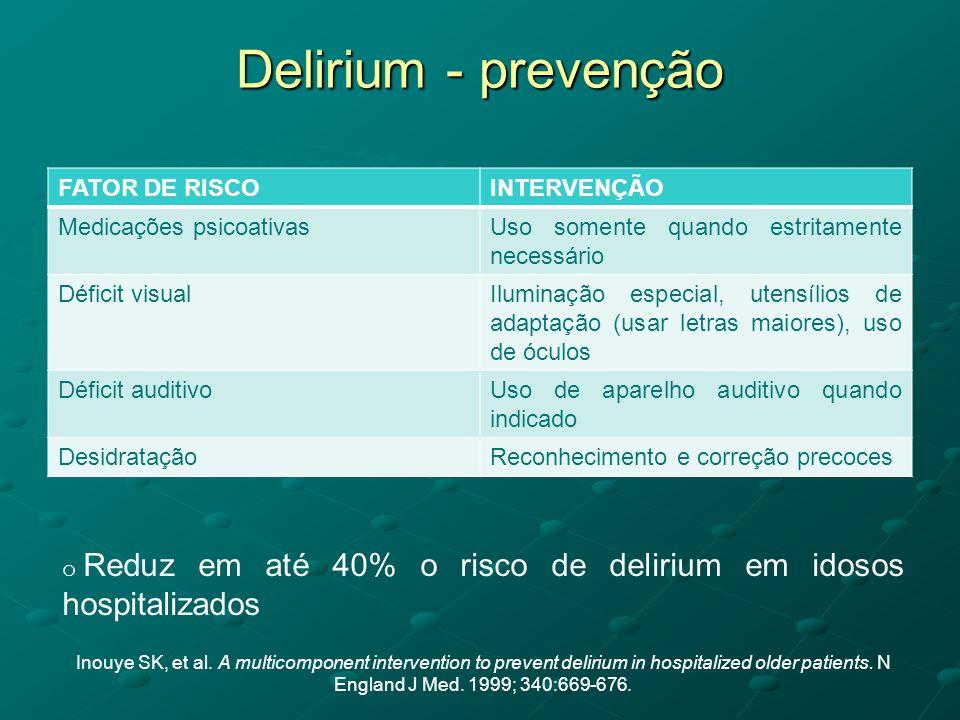 Delirium - prevenção FATOR DE RISCOINTERVENÇÃO Medicações psicoativasUso somente quando estritamente necessário Déficit visualIluminação especial, ute
