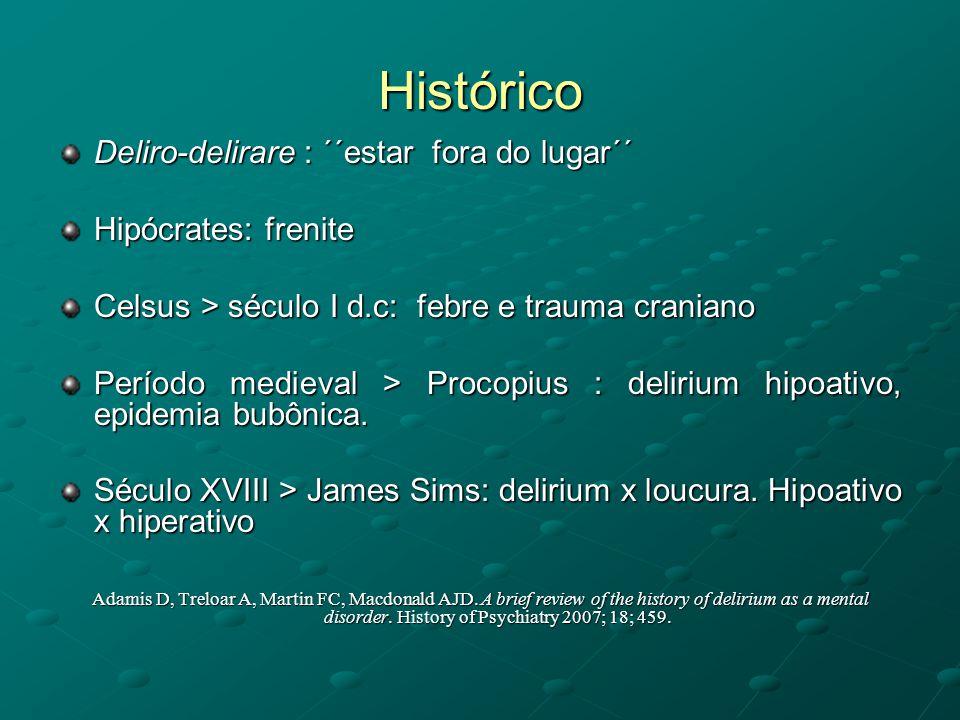 Histórico Deliro-delirare : ´´estar fora do lugar´´ Hipócrates: frenite Celsus > século I d.c: febre e trauma craniano Período medieval > Procopius :
