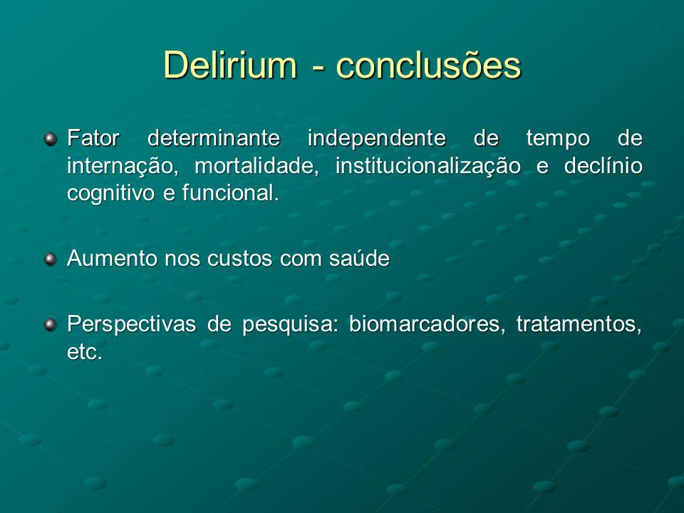 Delirium - conclusões Fator determinante independente de tempo de internação, mortalidade, institucionalização e declínio cognitivo e funcional. Aumen