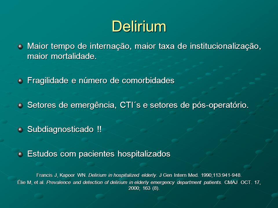 Delirium Comunidade: 1-2% Prevalência de 14 a 24% na admissão Incidência de 6-56% durante internação Pós-operatório: 15-53% Pós-trauma: 10-52% CTI: 70-87% 87% em pacientes sem perspectiva de cura Francis J, Kapoor WN.