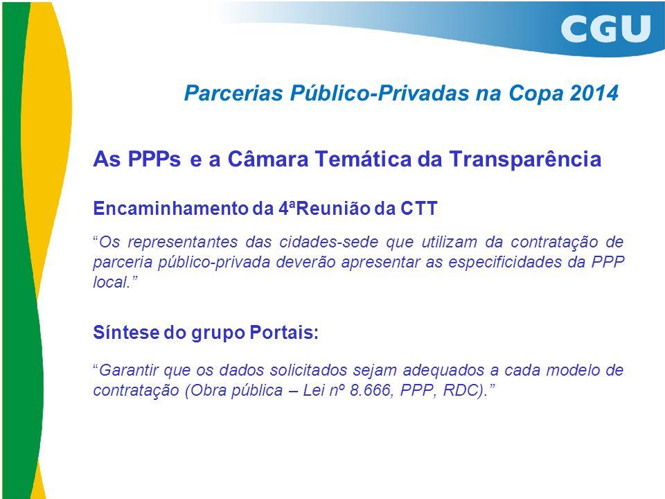 """Parcerias Público-Privadas na Copa 2014 As PPPs e a Câmara Temática da Transparência Encaminhamento da 4ªReunião da CTT """"Os representantes das cidades"""