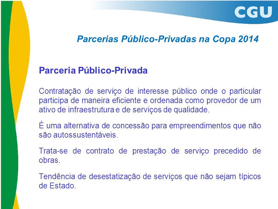 Parcerias Público-Privadas na Copa 2014 Parceria Público-Privada Contratação de serviço de interesse público onde o particular participa de maneira ef
