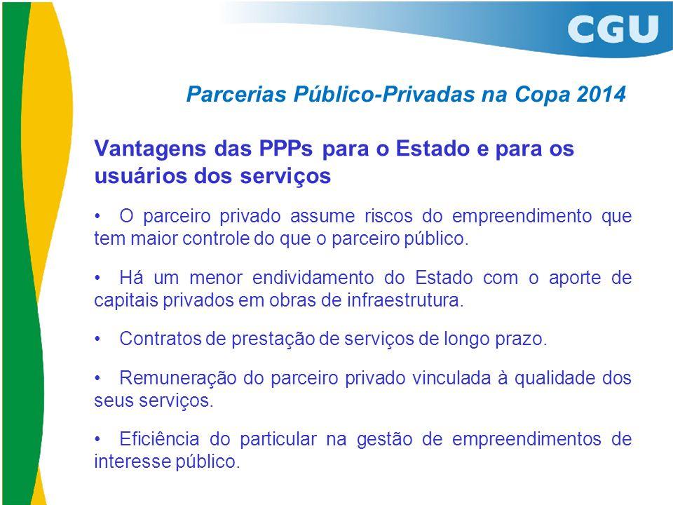 Parcerias Público-Privadas na Copa 2014 Vantagens das PPPs para o Estado e para os usuários dos serviços •O parceiro privado assume riscos do empreend