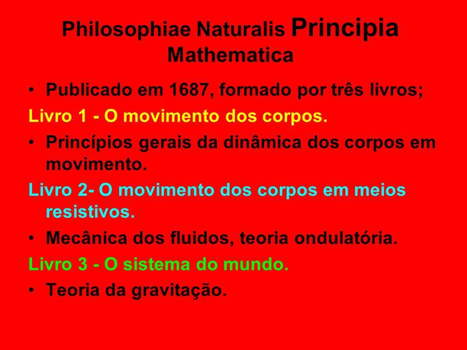 Philosophiae Naturalis Principia Mathematica •Publicado em 1687, formado por três livros; Livro 1 - O movimento dos corpos. •Princípios gerais da dinâ