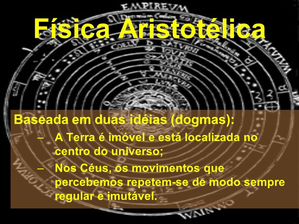 Física Aristotélica Baseada em duas idéias (dogmas): –A Terra é imóvel e está localizada no centro do universo; –Nos Céus, os movimentos que percebemo