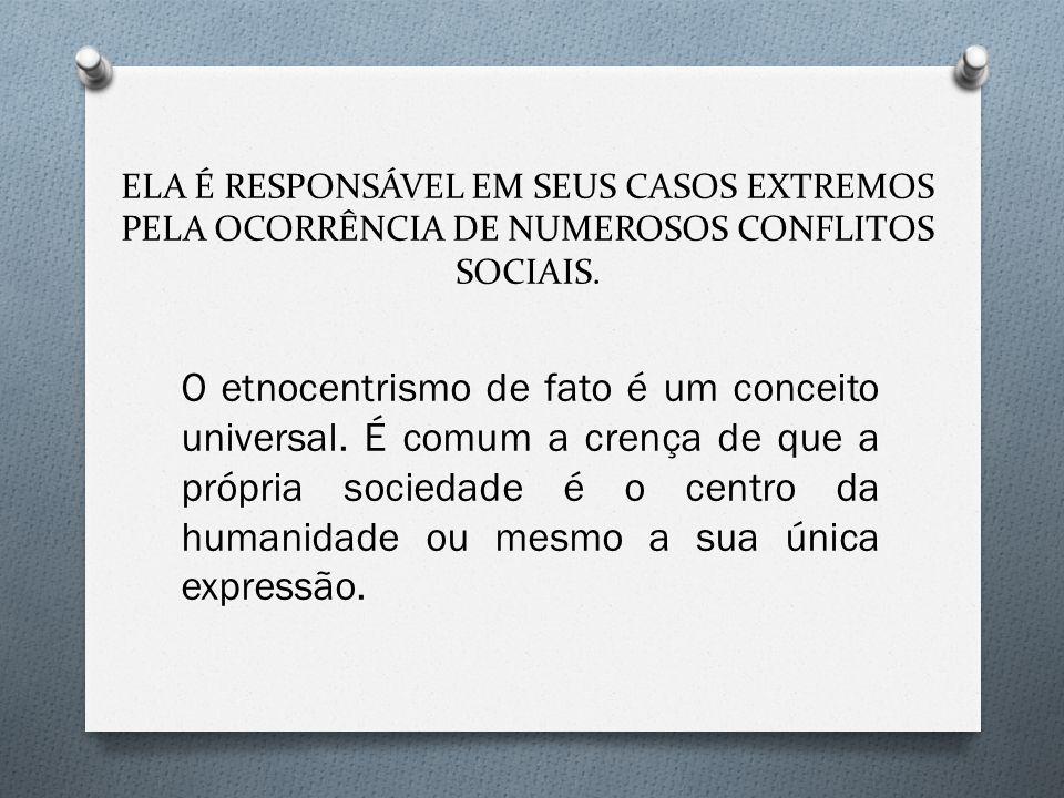 ELA É RESPONSÁVEL EM SEUS CASOS EXTREMOS PELA OCORRÊNCIA DE NUMEROSOS CONFLITOS SOCIAIS.