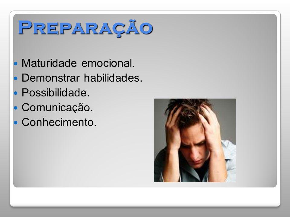 Preparação  Maturidade emocional.  Demonstrar habilidades.  Possibilidade.  Comunicação.  Conhecimento.